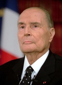French President Francois Mitterrand is seen before the start of a television interview in this Sept. 12, 1994 photo in Paris. The so-called Elysee wiretaps trial started in Paris Monday, Nov. 15, 2004, in which a dozen people are tried for invasion of privacy, two decades after Mitterrand used a wiretapping operation to eavesdrop on lawyers, politicians, journalists and celebrities in the name of national security. (KEYSTONE/AP Photo/Lionel Cironneau)