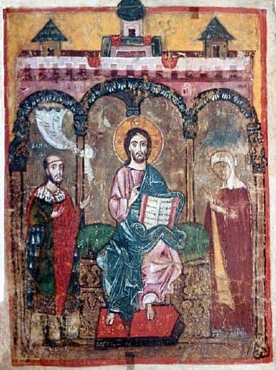 Михаил Ярославич и его мать Оксана предстоят перед Христом на тверской миниатюре начала XIV века