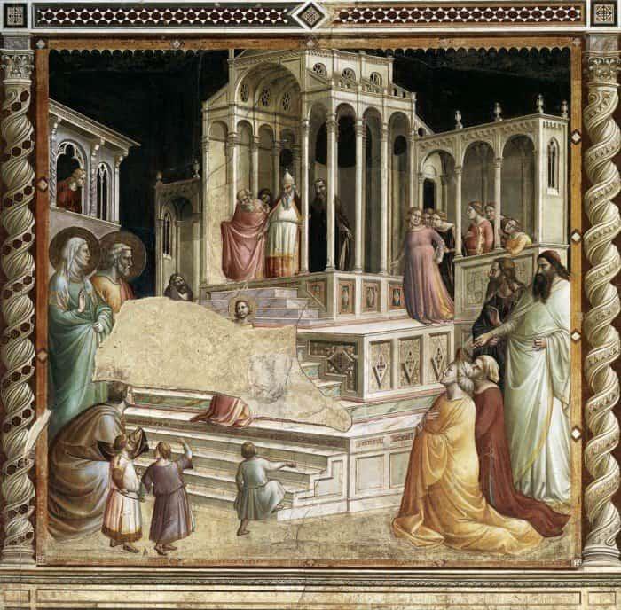 Таддео Гадди. Введение Марии во храм. Фреска. 1330. Часовня Барончелли, Санта-Кроче, Флоренция