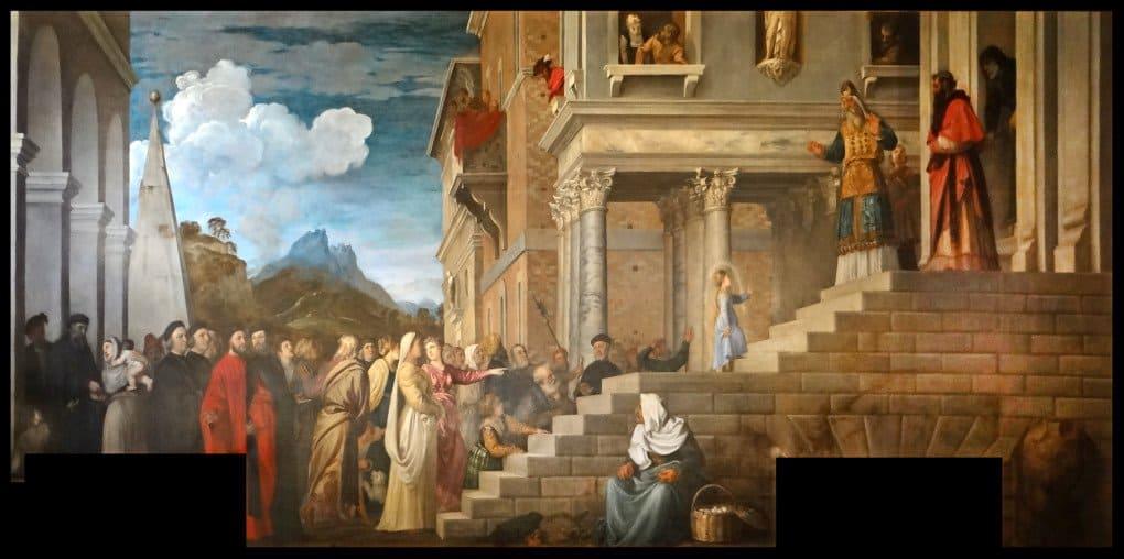 Тициан Вечеллио. Введение Марии в храм. 1485-1490