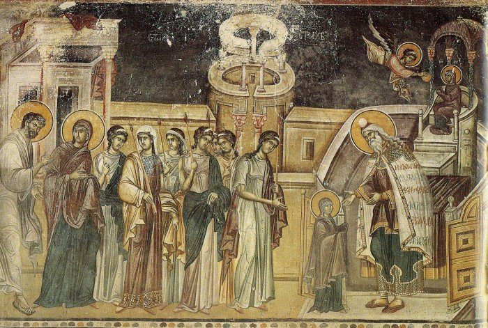 Введение во храм. Фреска. Византия. XIV в. Греция. Афон, монастырь Хиландар