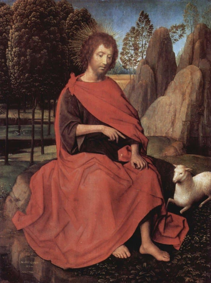 Ганс Мемлинг. Диптих Иоанна Крестителя и Св. Вероники. Иоанн Креститель, левое крыло. 1470