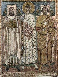 Св. Дмитирий идонаторы. Мозаика церкви св. Димитрия в Салониках. Византия, VI-VII вв.