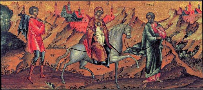 Бегство в Египет. Икона XVIII века.