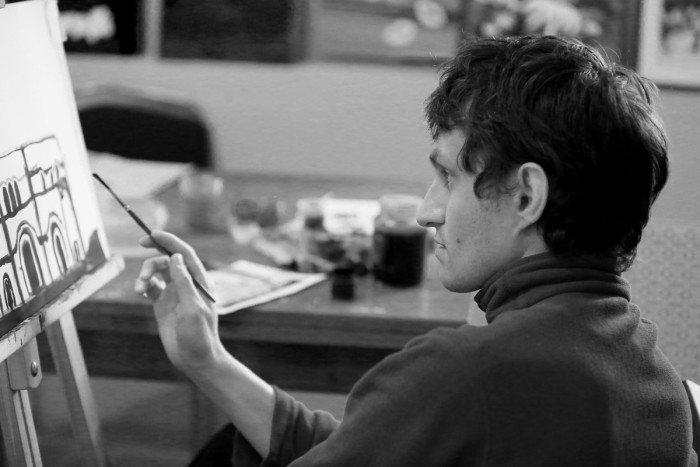 Валентин Кобленц. «Романтичный, вдумчивый, играет на флейте. И очень самостоятельный как художник. Если кто-то подходит и начинает предлагать, как, например, закончить рисунок, всегда говорит: «Я работаю сам».