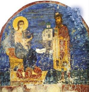нязь Ярослав Всеволодович, подносящий храм Христу. Фреска церкви Спаса на Нередице, Новгород. Около 1246