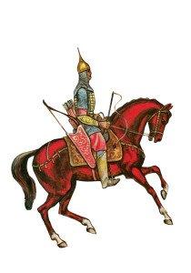q Лучник XIII века. Иллюстрация с современной открытки