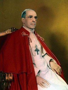Portrait of Pope Pius XII seated on throne. --- Image by © Bettmann/CORBIS