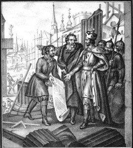 Великий князь Ярослав после разорения татарами Руси возобновляет города. Борис Чориков. 1836