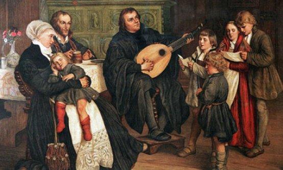 Лютер в окружении семьи