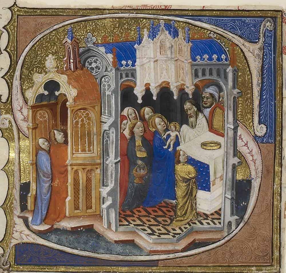 Принесение Христа во храм. Миниатюра кармелитской рукописи. Лондон. 1375