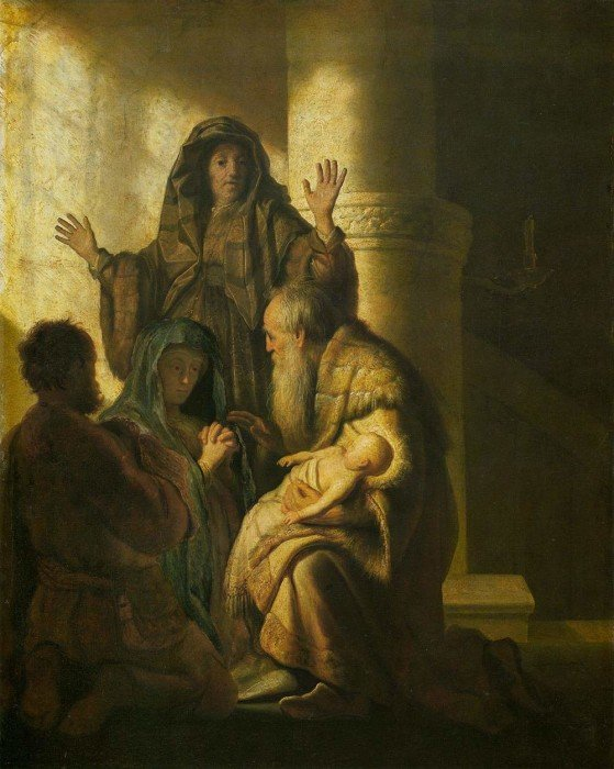 Рембрандт. Симеон и Анна узнают Господа в Иисусе. 1627