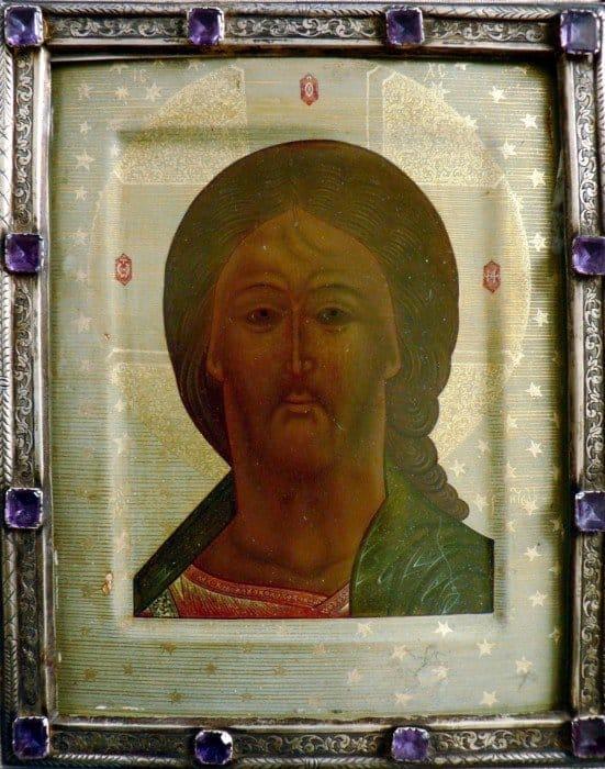 Икона, принадлежавшая Лескову с дарственной надписью. Лицевая сторона