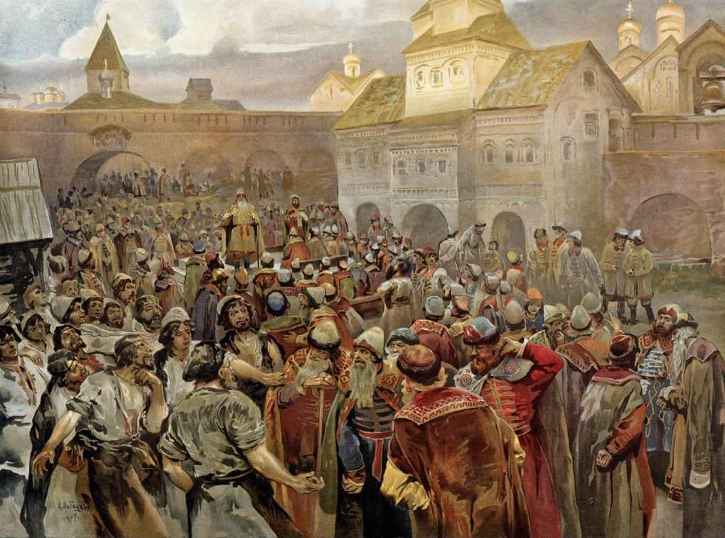 Вече в Новгороде. Клавдий Лебедев. 1907