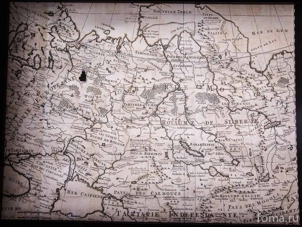 Фрагмент гравюры «Генеральная карта государства царя-императора Московии, из которой видно, чем князь владел в Европе и Азии, с большинством гербов этих владений, а так же с указанием, как найти их на карте». Нидерланды, 1714 год. Из собрания МГОМЗ