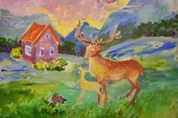 Рисунки Ксении. Рассвет в долине