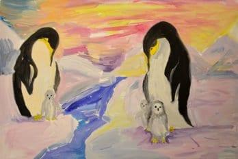 Рисунки Ксении. Антарктическое семейство