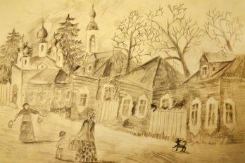 Рисунки Ксении. Старинный русский город