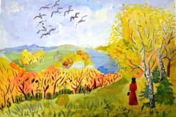 Рисунки Ксении. Осень в Поленово