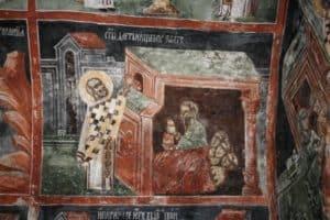 Николай Чудотворец спасает трех девиц от бедственного положения, Сербия, XIV в., Косово. Церковь святителя Николая