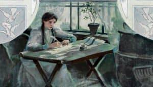Татьяна пишет письмо Онегину. Иллюстрации Е. П. Самокиш-Судковской (1908), www.poetry-classic.ru
