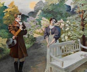 Евгений и Татьяна - встреча в саду. Иллюстрации Е. П. Самокиш-Судковской (1908), www.poetry-classic.ru