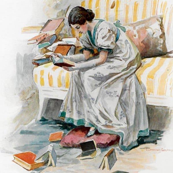 Татьяна Ларина читает книги. Иллюстрации Е. П. Самокиш-Судковской (1908), www.poetry-classic.ru
