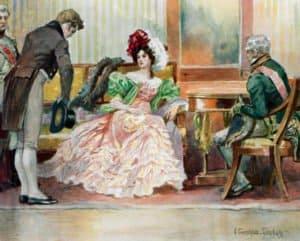 Встреча Онегина с замужней Татьяной. Иллюстрации Е. П. Самокиш-Судковской (1908), www.poetry-classic.ru