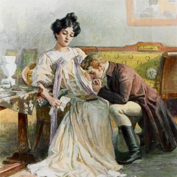 Онегин и Татьяна - последний разговор. Иллюстрации Е. П. Самокиш-Судковской (1908), www.poetry-classic.ru
