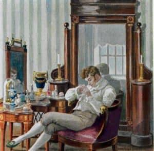 Евгений Онегин в кабинете. Иллюстрации Е. П. Самокиш-Судковской (1908), www.poetry-classic.ru