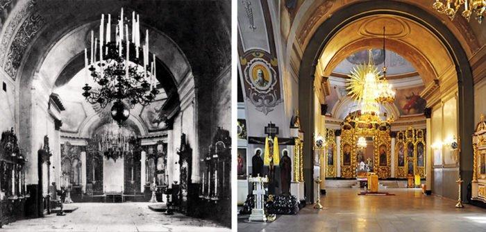 Интерьер храма до разрушений и после современной реставрации