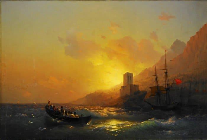 Закат над Великой Лаврой. Святой Афон. 1846