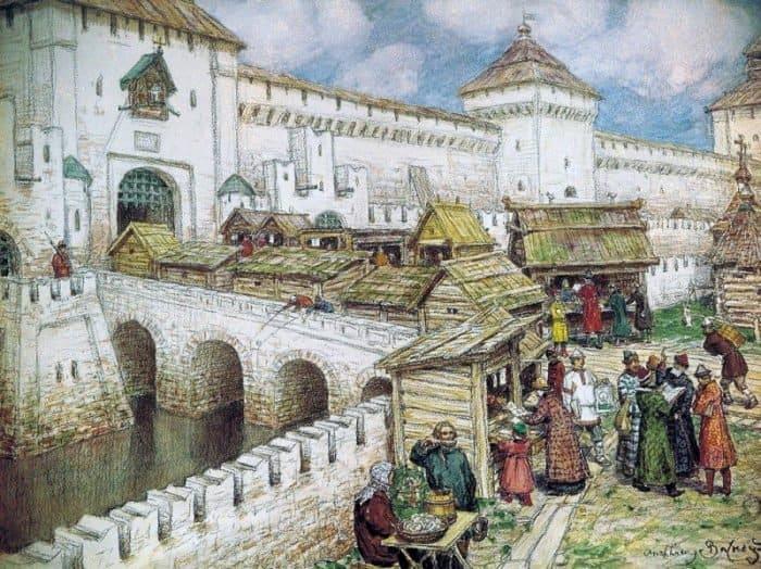 Книжные лавочки на Спасском мосту в XVII веке. 1916