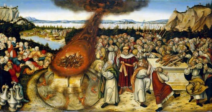 Пророк Илия и жрецы Ваала. Лукас Кранах (Младший). 1545