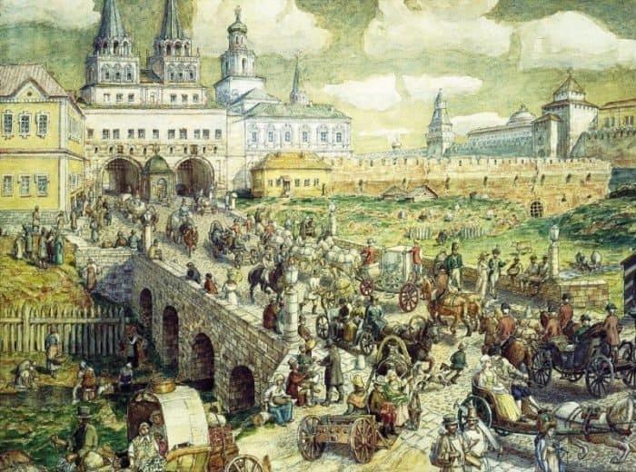 Уличное движение на Воскресенском мосту в XVIII веке. 1926