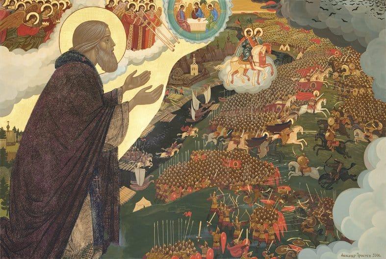 А. Простев. Молитва преподобного Сергия о даровании победы русскому воинству на поле Куликовом