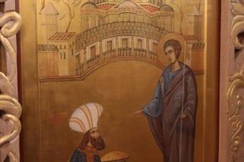 """Икона """"апостол Фома и князь Гундофар"""". Здесь изображен известный сюжет из жития святого о строительстве дворца индийскому вельможе"""