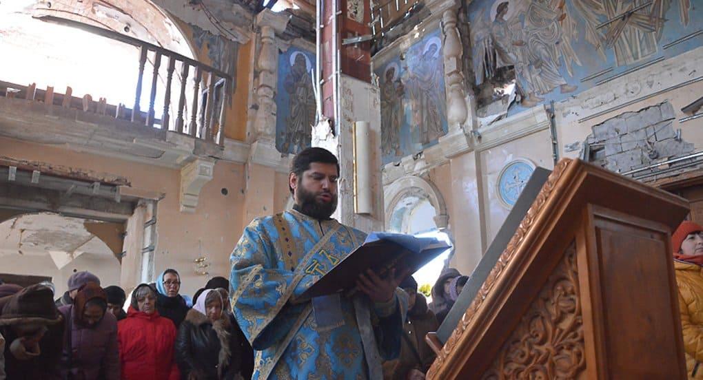Впервые за полгода в Иверском монастыре Донецка совершили Литургию