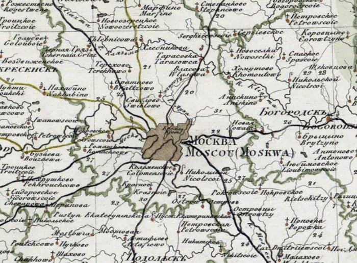 Карта Москвы, 1821 год. Источник
