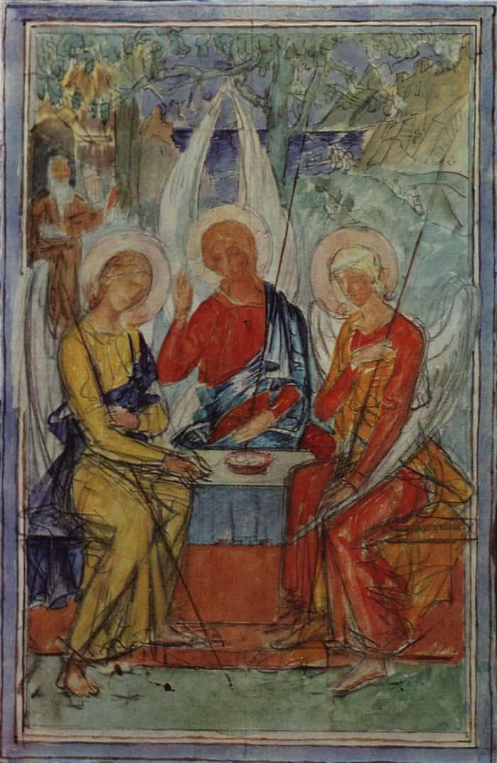 Троица. Эскиз для росписи на стекле. 1915