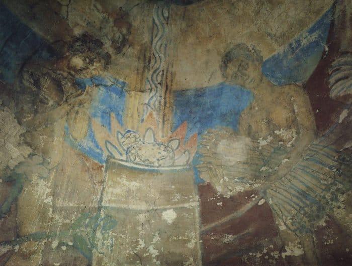 Жертвоприношение Авеля. Фреска церкви Василия Златоверхого, Овруч. 1910
