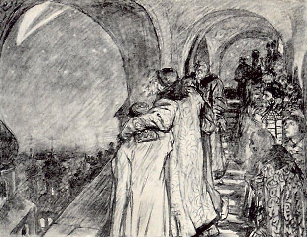 """Виктор Васнецов, """"Иван Грозный смотрит на комету, предвещающую ему смерть"""""""