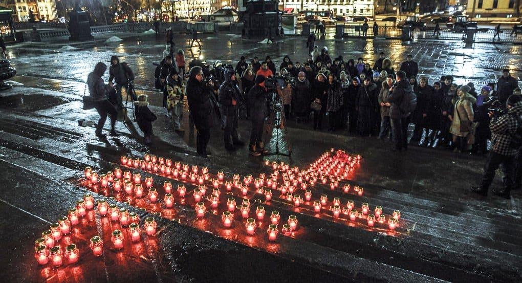 Москвичи помолились об Андрее Карлове у храма Христа Спасителя