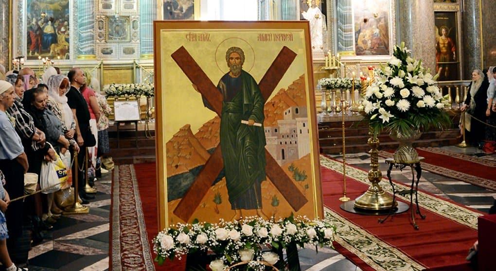 России подарили икону Андрея Первозванного с частицей его мощей и креста