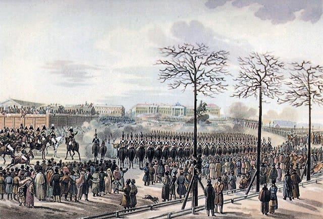 Санкт-Петербург. Сенатская площадь 14 декабря 1825 года. Рисунок Кольмана из кабинета графа Бенкендорфа в Фалле