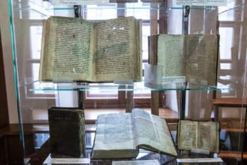 В витрине — жития святого равноапостольного Кирилла и связанные с этим произведения.