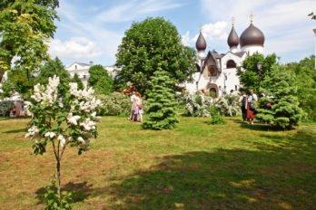 Цветущий сад на территории Марфо-Мариинской обители. Именно здесь детки гуляют во время дневной прогулки. Фото Владимира Ештокина