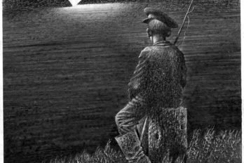 В. Астафьев «Монах вновых штанах». 21х16. Кар. 1990