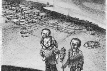 В. Астафьев «Монах вновых штанах» 21х16. Кар. 1990