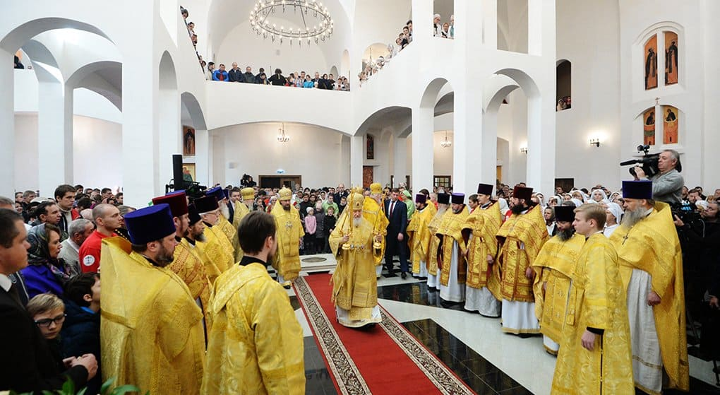 Патриарх Кирилл освятил храм Сергия Радонежского на Ходынке